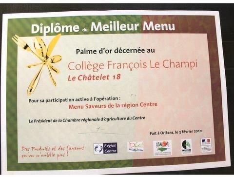 Diplome du meilleur menu dans COLLECTIVITE 001-1