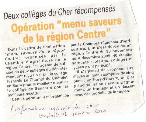 Article de presse dans COLLECTIVITE info-12-01-2010-001